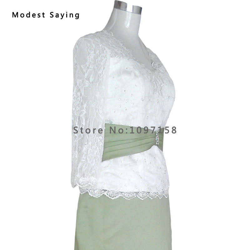 Zarif Fildişi ve Zeytin Yeşil Kılıf Boncuklu Dantel Uzun Kollu - Düğün Abiye - Fotoğraf 4