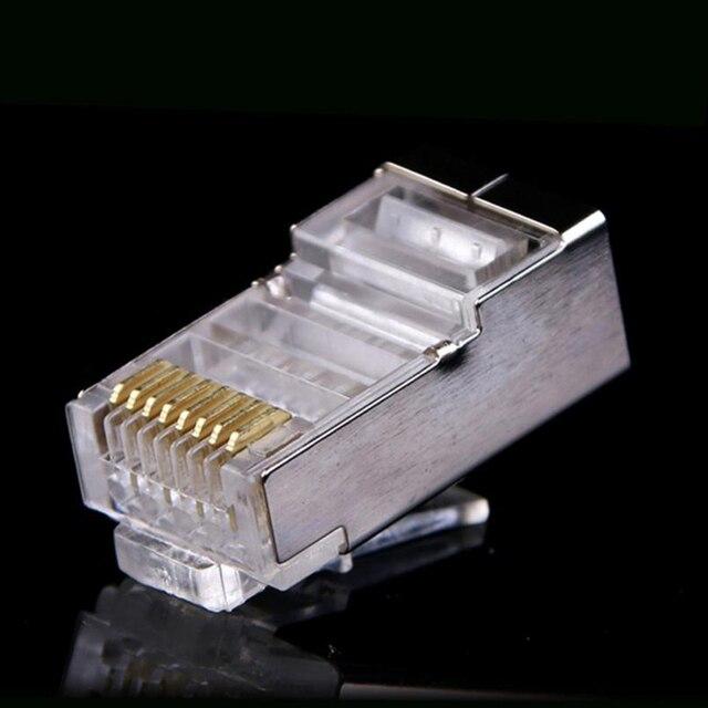 100x Gigabit CAT6 RJ45 Network Shielded Connectors Ethernet Cable Corrosion Resistance Plug Heads