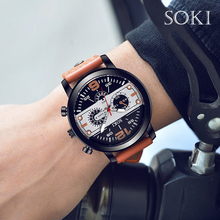 Business Watches Fashion Casual Sport Military Luxury SOKI Brand Men Auto Date Quartz Watch Men Gold Leather Strap Watch цена и фото