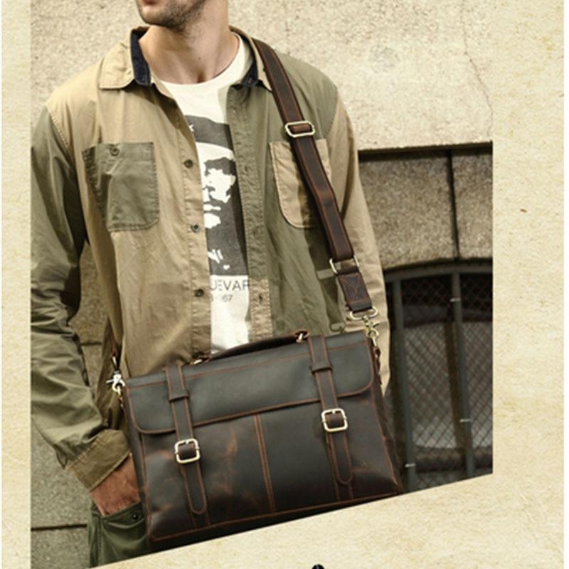 Männer Bags Handtaschen Aktentasche Yuan Anwalt Kaffee Messenger 2017 Rindsleder Leder Xi 14 Business