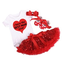 4pcs Set Baby Girl Clothe I have the BEST MOM Outfits Romper Tutu Sequins Skirt Shoes Mothers Day Clothes for