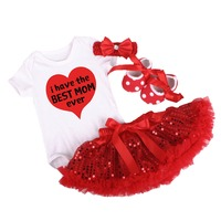 4pcs Set Baby Girl Clothe I have the BEST MOM Baby Outfits Romper Tutu Sequins Skirt Baby Shoes Mother's Day Clothes for Baby