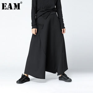 Image 1 - [EAM] 2017 Autumn Winter Fashion New Supper Loose Hip Hop Cross pants Personality Solid Color Big Size Pants Woman YA63201