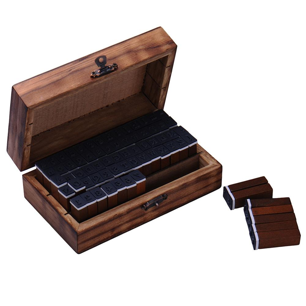 Wholesale Hot Sale 30pcs/Set Letter Wood Stamp AlPhabet Stamps Wooden Box Personalized Motto Handmade Hobby Sets