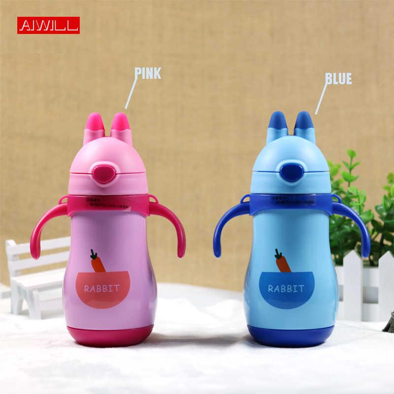 Aiwillかわいい魔法瓶用子供でわらとロープとハンドグリップ水ボトル350ミリリットル健康なステンレス鋼ドリンクボトルギフト