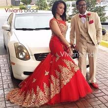 Robe de Soiree Longue Lange Meerjungfrau Abendkleid Formale Kleider Rot Prom Kleider 2017 mit Gold Spitze Appliques