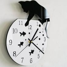 2017 hot  Naughty Cat Acrylic Clock Wall Clock Modern Design Home Decor Watch Wall Sticker baby room wallpaper for kids room fre