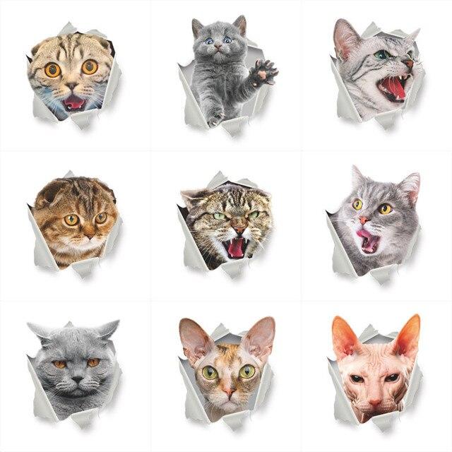 חי 3d חתול מיטת סלון חדר שינה חדר שרותים חדר רחצה קיר מדבקת מדבקות דקור מדבקות קיר פוסטר אמנות