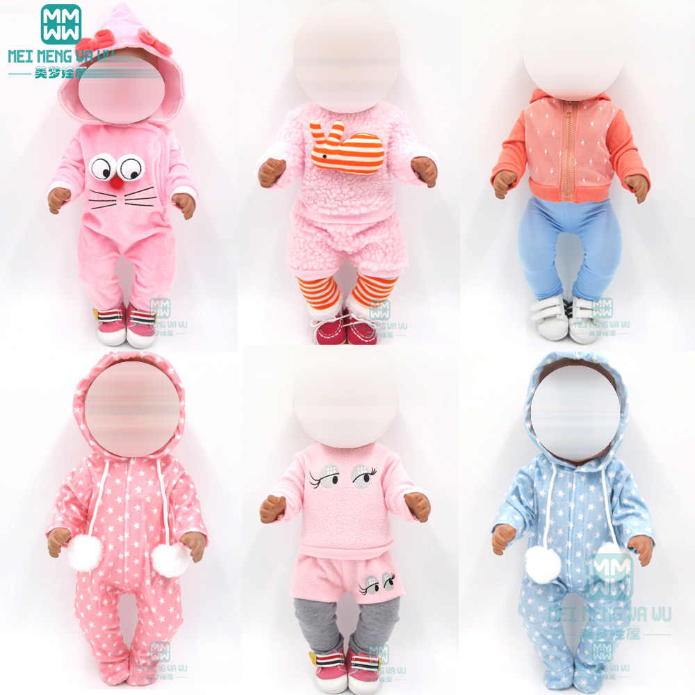 Doll clothes for 43 cm toy new born doll and American doll Casual crawling clothes baby Cartoon suits