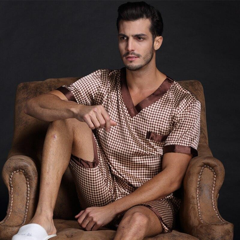 a6d5d4528 Thoshine marca Primavera Verano otoño hombres satén seda pijamas conjuntos  de camiseta y pantalones cortos Pijama