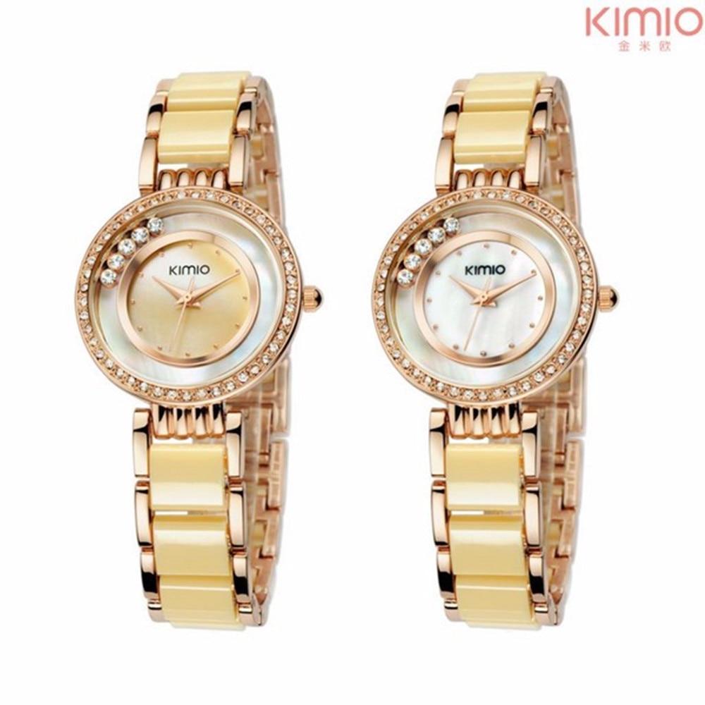 KIMIO Top Luxury brand Women watches fashion Simulated-ceramics bracelet quartz watch women Dress Crystal Ladies wristwatches
