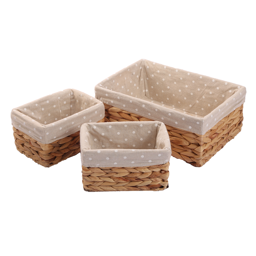 Woven Natural Water Hyacinth Rectangular Storage Baskets Bins for