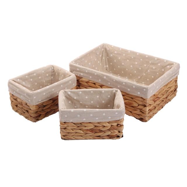 Woven Natural Water Hyacinth Rectangular Storage Baskets Bins For Shelves  Organizer Container Cosmetics Box Panier De