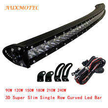 90W 120W 150W 180W 210W 240W Single Row Curved Offroad Led Bar Spot Flood Combo Driving Light 12V 24V 4x4 SUV ATV UTV PICKUP