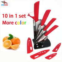 Christmas Gifts brand high quality 10 piece in set Zirconia kitchen Ceramic Knife Sets 3 4 5 6 inch + Peeler+Scabbard+Holder