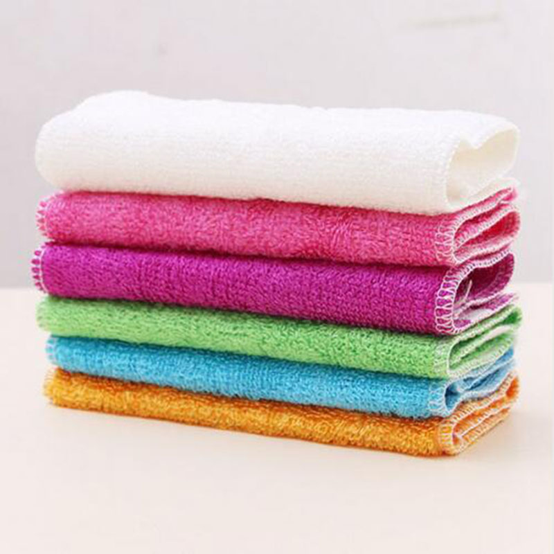 5 stk 100% Pure Bamboo Fiber Dish Cloth Oljebestandig Non-Sticking Double-deck Avfallsabsorberende Dikke Kitchen Cleaning Cloth