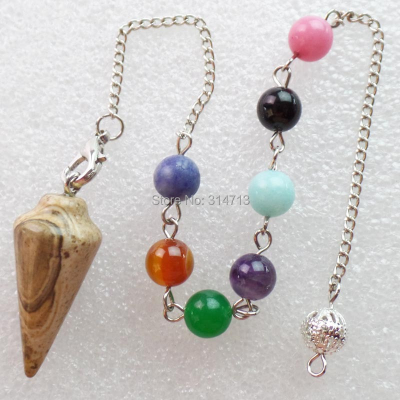 (Min.order 10$ mix)Wholesale 1 piese Picture Stone 32X15MM Pendulum With 7pcs Mixed 8mm beads And The Chain length 250mm