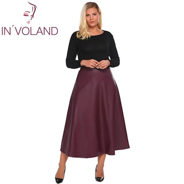 IN VOLAND Femmes Cuir Jupe Maxi Grande Taille 5XL Automne Hiver Taille  Haute Évasée A 57404d2df42