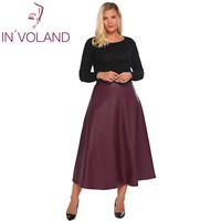 IN VOLAND Women Leather Skirt Maxi Plus Size 5XL Autumn Winter High Waist Flared A Line