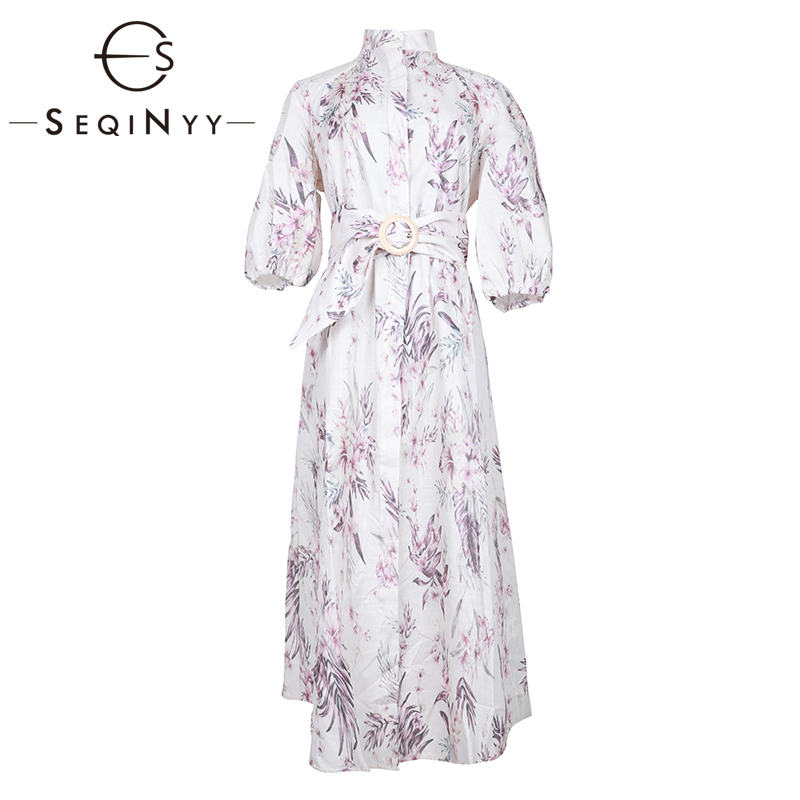 SEQINYY Loose Dress 2019 Summer Spring New Fashion Design Half Sleeve Flowers Printed Straight Midi White