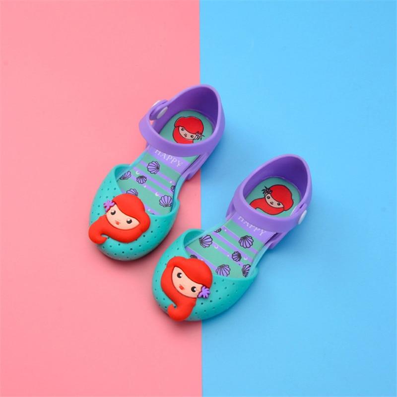 Mini Melissa 2018 New Summer Princess Baby Girls Jelly Sandals Jelly Shoe Girl Non-slip Melissa Kids Sandal Beach Sandals