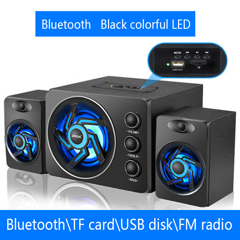 SADA D-219 Bluetooth\TF\USB\FM Function 2.1 Computer Speaker System With Colorful LED Light and Powered Subwoofer USB Wire Power