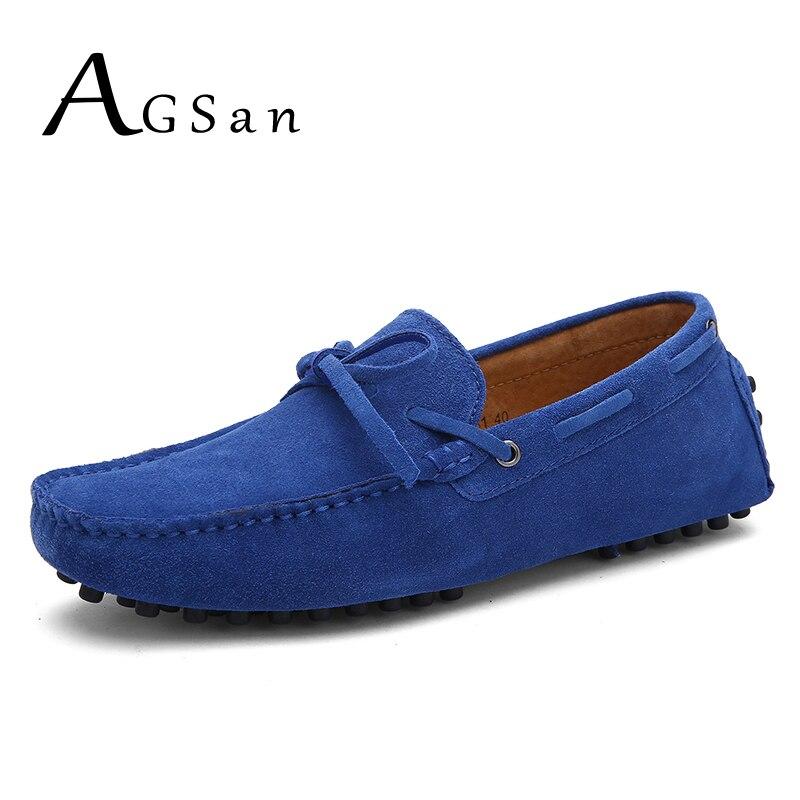 AGSan Marque De Luxe Bateau Chaussures Hommes En Cuir Véritable Hommes Mocassins Hommes En Cuir Casual Chaussures Grande Taille 38-49 11 12 mocassins
