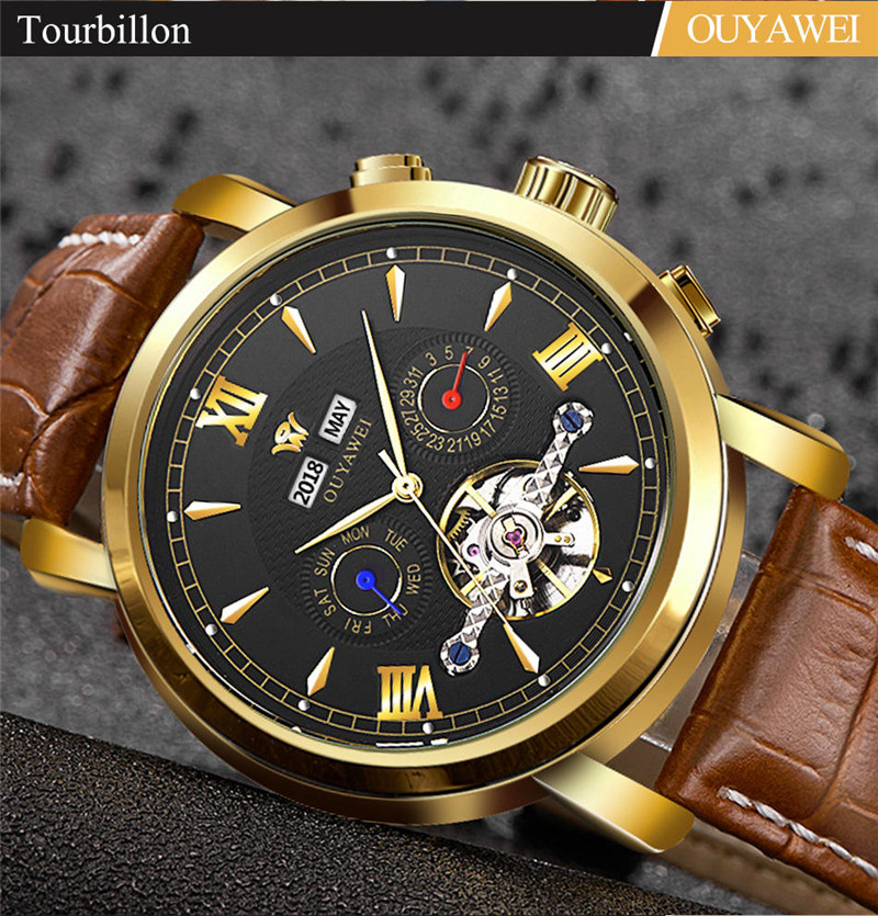 Mechanical Watch Mens Top Men\`s Automatic Mechanical Watches Wristwatch Leather watch relogio masculino (5)