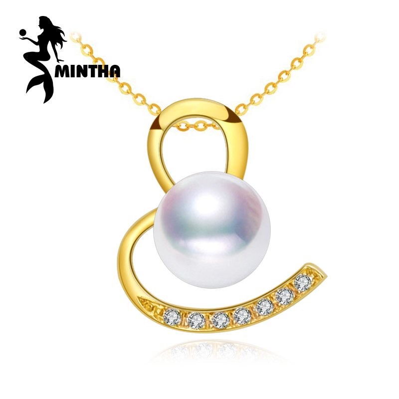 MINTHA 18K Gold round pearl pendant necklace for women,fine Jewelry 18k yellow gold necklace & pendant for lovers heart pendant yoursfs heart necklace for mother s day with round austria crystal gift 18k white gold plated