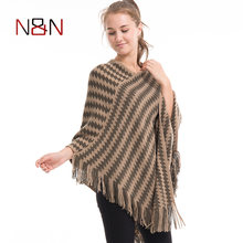 Nieuwe Stijl Vrouw Sjaal Fringe Poncho Kint Sjaal Lady Streep Tsaael Diamond Print Ponchos Vrouwen Trui En Capes(China)