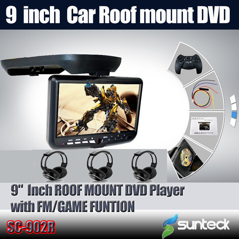 "Free Shipping 9 "" Roof Mount Car DVD Player with 32bit Game/MPEG4/USB/SD/FM/IR+3pcs IR wireless headphones For Free"