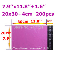 pupulr 200pcs/ lot 7.9''x11.8+1.6'' 20*34cm Poly Mailers Envelopes Shipping Bags purple Plastic Self Seal Bags free shipping