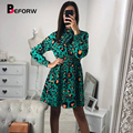 46c7bedfa103 BEFORW 2019 moda estampado de leopardo Vestidos de fiesta elegante vintage  Polka Dot vestido de las