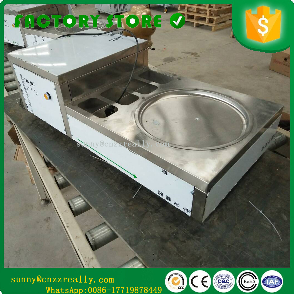 -40 Degree Air Cooling Thailand Rolls Fried Hard Ice Cream Making Machine Commercial Flat Pan Fry Ice Cream Machine
