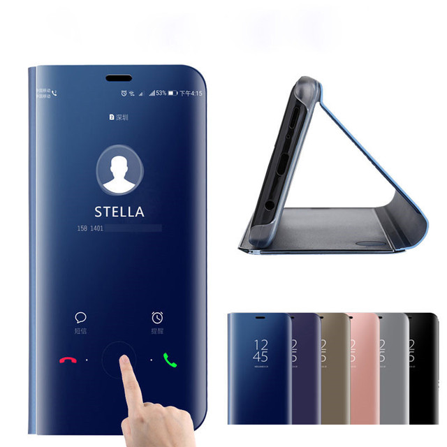 huge selection of 85231 5a03a For Huawei Mate 20 Lite Case Flip Smart View Mirror Cases For Huawei Mate  20 Pro X SNE-LX1 Case Leather TV Stand Phone Coque