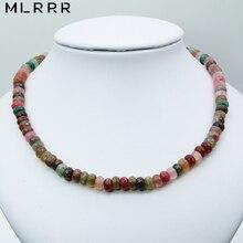 خمر مجوهرات الحجر الطبيعي الكلاسيكية أنيقة نوبل 5*8 ملليمتر Tourmalines مطرز سلسلة السحر ستراند المختنق قلادة 46 سنتيمتر