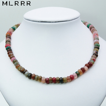 Vintage Classic Natural Stone Jewelry Elegant Noble 5*8 mm Tourmalines Beaded Charms Chain Strand Choker Necklace 46 cm
