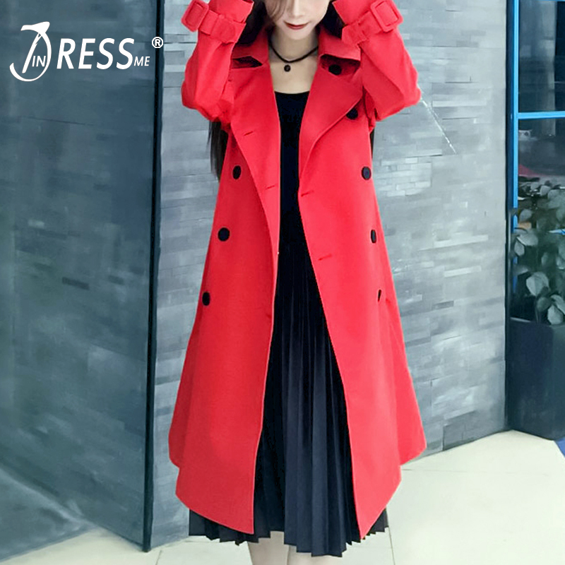 INDRESSME Casual Streetwear Full Sleeve Turn Down Collar Women   Trench   Fashion Button Long Wide Waisted Women Coat Clearance 2018