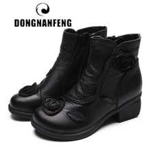 DONGNANFENG Mother Women Ladies Female Shoes Boots Cow Genuine Leather Floral Zipper Spring Autumn Ankle National 35-42 XR-0048