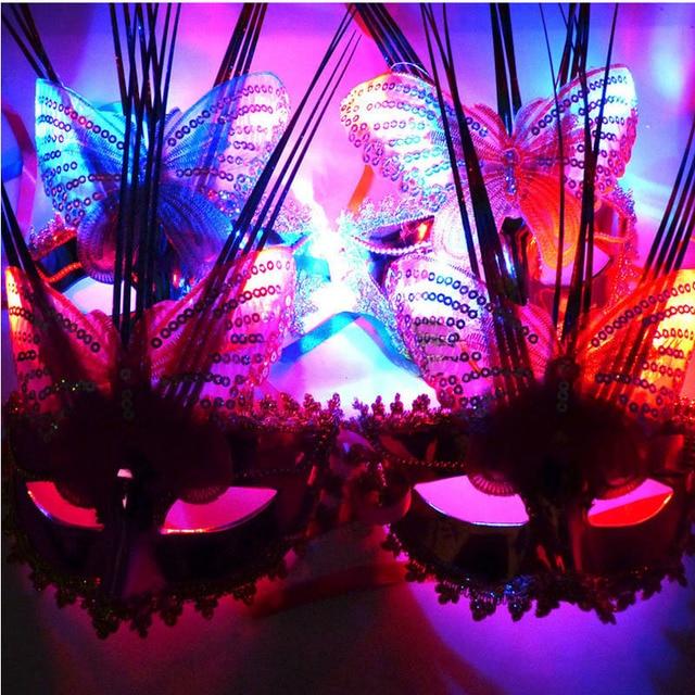 Women Flashing LED Light Up Butterfly Masks Mask for Mardi Gras ...