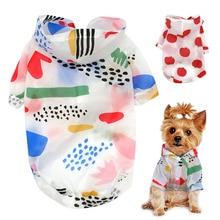 Дождевик для собак, Солнцезащитная одежда, летняя Солнцезащитная толстовка с капюшоном, одежда для маленьких собак, пончо с принтом для маленьких и средних домашних животных, щенков, кошек