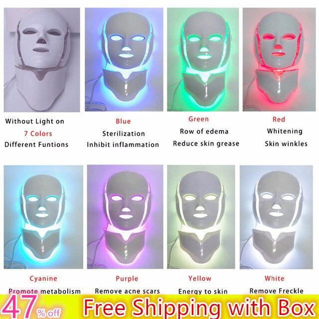 DATE 3/7 Couleurs Photon Électrique LED Masque Facial avec La Peau Du Cou Rajeunissement Anti Acné Rides Beauté Traitement Salon Home Use