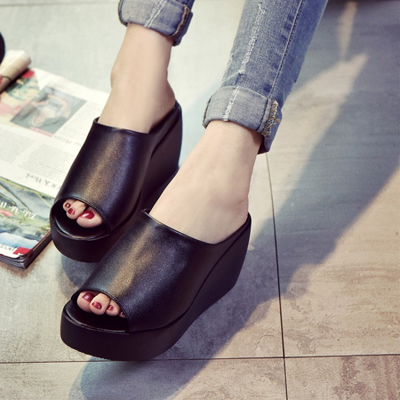 Women Sandals 7.5cm Platform Wedges Women's Shoes Thick Heel Open Peep Toe Sandals Leather Summer Style Slide Black Shoes Size 9 shidiweike plus size women sandals platform women shoes wedges sandals open toe summer sandals b823