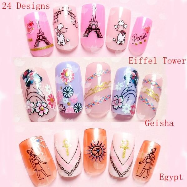 24 Designs Eiffel Tower Geisha Egypt Nail Tip Art Stickers 3d Self