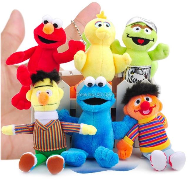 6 pçs/set Big Bird Sesame Street Elmo Cookie Monster Bert 12-15 CENTÍMETROS Chaveiro Boneca de Pelúcia Para As Crianças de Varejo