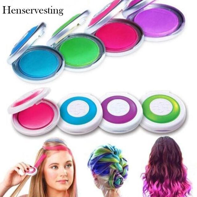 ac8d29ed5 4 colores DIY tinte temporal para el cabello lavar tiza en polvo suave  salón de pelo