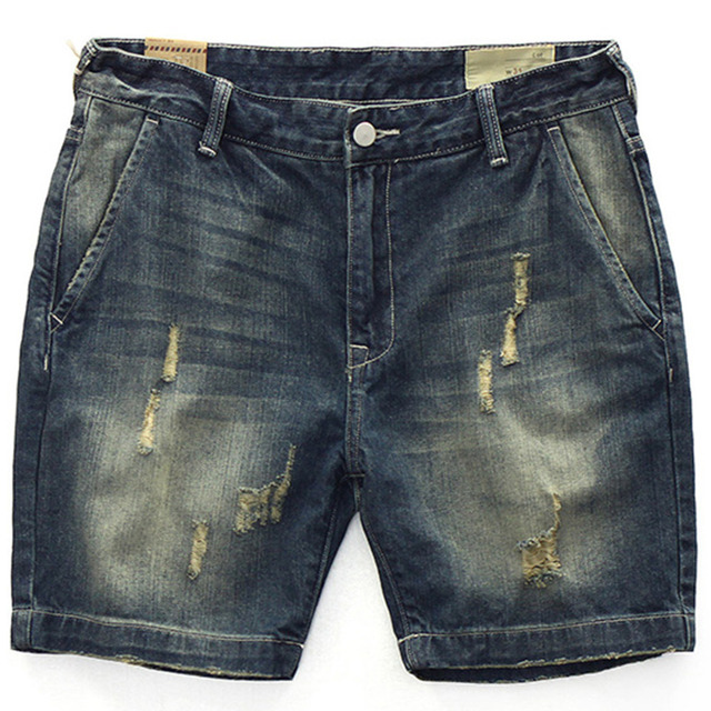 b1784d117b4cb 2018 Summer Mens Denim Shorts RRL Bermudas Masculina De Marca Short Ripped  Jeans Men Streetwear Branding Clothing