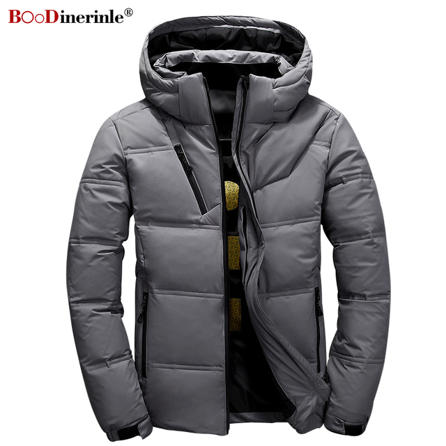 49ccadbceed 2018 Winter Men s Coat New Leisure Youth Men s Thick Slim Down Jackets  Autumn Warm Plus Size 3XL Male Gray Basic Outwear YR158