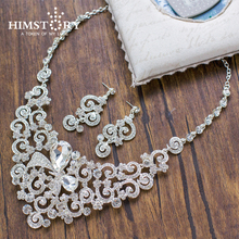 Gorgeous Butterfly Crystal Bridal Jewelry Sets Enlarge Silver Plated Wedding Party Prom Necklace Earrings Sets bridal jewelry sets for women ab color crystal flower 12 style gold wedding necklace earrings set female party prom jewelry sets