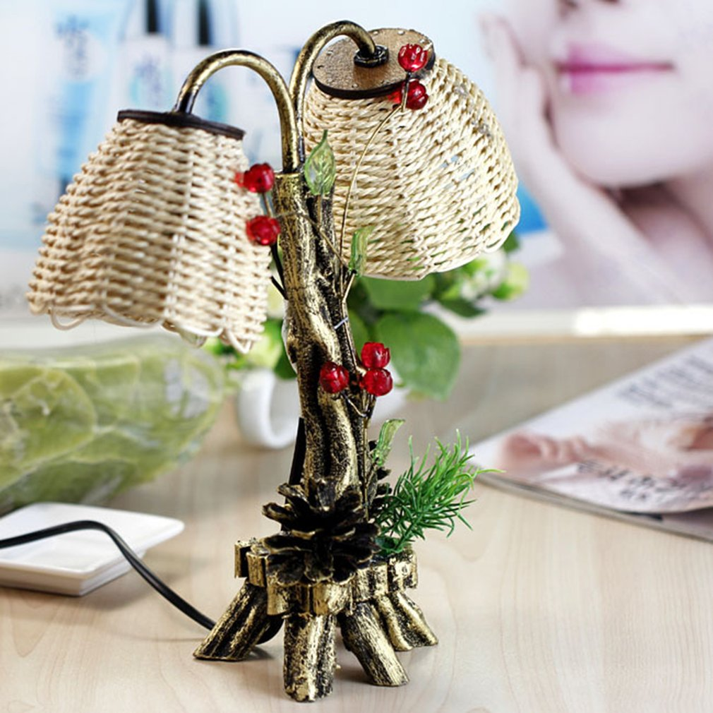 ICOCO Unique Pine Tree Shaped Craft Table Lamp Vintage Pastoral Straw Double Bulbs Night Lamps Home Decorative Light Lamps Sale